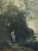 Jean Baptiste Camille  Corot Landscape with a peasant Girl grazing a Cow at the Edge of a Forest oil painting picture wholesale