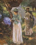John Singer Sargent Two Girl with Parasols at Fladbury oil painting picture wholesale