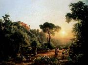 Karoly Marko the Elder Landscape near Tivoli with Vintager Scens oil painting picture wholesale