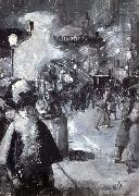 Lesser Ury At the railway station Friedrichstrabe oil painting picture wholesale