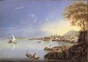 Louis Bleuler Seen city of Neuchatel oil