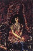 Mikhail Vrubel Young Girl against a Persian Carpet oil painting on canvas