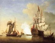 Monamy, Peter Stern view of the Royal William firing a salute oil painting picture wholesale