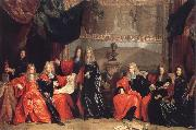 Nicolas de Largilliere The provost and Municipal Magistrates of Paris Discussing the Celebration of Louis XIV-s Dinner at the hotel de Ville after his Recovery in 1687 oil painting picture wholesale
