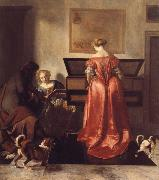 OCHTERVELT, Jacob A Woman Playing a Virgind,AnotherSinging and a man Playing a Violin oil painting artist
