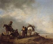Philips Wouwerman A View on a Seashore with Fishwives Offering Fish to a Horseman oil painting picture wholesale