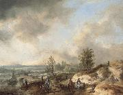 Philips Wouwerman A Dune Landscape with a River and Many Figures oil painting picture wholesale