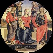 Pietro vannucci called IL perugino The Virgin and the Nino acompanados for two angeles, Holy Rose and Holy Catalina oil painting artist