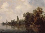 RUYSDAEL, Salomon van A Rievr with Fishermen Drawing a Net oil painting picture wholesale