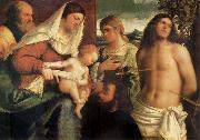 Sebastiano del Piombo The Sacred Family with Holy Catalina, San Sebastian and an owner.the Holy oil painting picture wholesale