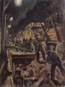 Waldemar Rosler U-train-building in night oil painting reproduction