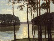 Walter Leistikow Evening mood at the battle lake oil painting picture wholesale