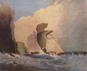 William Buelow Gould Sailing ships off a rocky coast oil painting artist