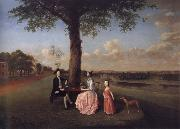 Arthur Devis Henry Fiennes Clinton,9th Earl of Lincoln,with his wife,Catherine and his son,George,on the great terrace at Oatlands oil painting picture wholesale