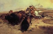 Charles M Russell Buffalo Hunt oil painting picture wholesale