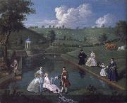 Edward Haytley The Brockman Family and Friends at Beachborough Manor the Temple Pond looking towards the Rotunda oil painting picture wholesale