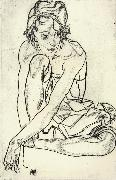 Egon Schiele Squatting Woman oil painting picture wholesale