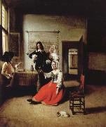 Pieter de Hooch Weintrinkende woman in the middle of these men oil painting picture wholesale