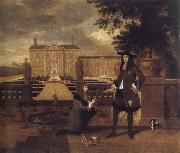 unknow artist John Rose,the royal gardener,presenting a pineapple to Charles ii before a fictitious garden oil painting picture wholesale