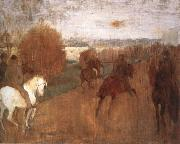 Edgar Degas Horses and Riders on a road oil painting picture wholesale