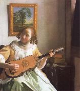 Jan Vermeer Woman is playing Guitar oil painting picture wholesale