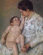 Mary Cassatt Baby-s touching oil painting reproduction