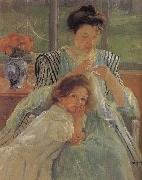 Mary Cassatt The young mother is sewing oil painting picture wholesale