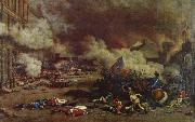 unknow artist Da the avslojades ,att king had consort with France enemies charge a rebellion crowd the 10 august Tuilerierna oil painting reproduction