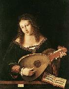 BARTOLOMEO VENETO Woman Playing a Lu oil painting