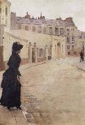 Beraud, Jean Waiting,Paris,Rue de Chateaubriand oil