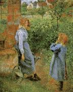 Camille Pissarro Woman and Child at a Well oil painting picture wholesale