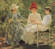 Edmund Charles Tarbell Three Sisters-A Study in june Sunlight oil