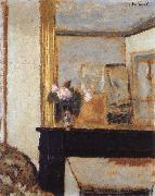 Edouard Vuillard Blomvas on the mantelpiece oil painting artist