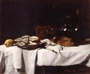 Francois Bonvin Still life with Lemon and Oysters oil painting