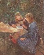 Fritz von Uhde Two daughters in the garden oil painting picture wholesale