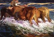 Joaquin Sorolla Y Bastida Oxen Study for the Afternoon Sun oil painting artist