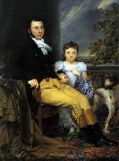 Joseph Denis Odevaere Portrait of a Prominent Gentleman with his Daughter and Hunting Dog oil painting