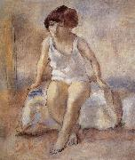 Jules Pascin The maiden wear the white underwear from French oil painting