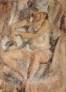 Jules Pascin Maiden wearing Islamic kerchief oil painting