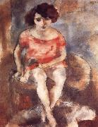 Jules Pascin The woman wearing the red garment oil painting