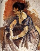 Jules Pascin Lady  Portrait of Andora oil painting