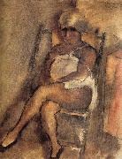 Jules Pascin kerchiefed Lady oil painting