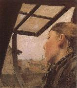Laurits Andersen Ring Girl looking out of a Skylight oil painting picture wholesale