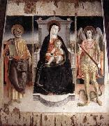 Lorenzo Veneziano Madonna Enthroned with the Infant Christ, St Peter and St Michael oil painting artist