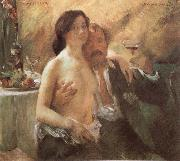 Lovis Corinth Self-Portrait with his wife and a glass oil painting picture wholesale