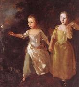 Thomas Gainsborough Konstnarens dottrar jaggr a fjaril oil painting picture wholesale