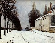 Alfred Sisley Snow on the Road,Louveciennes oil painting artist