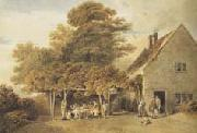 Edmund Dorrell Figures outside a roadside inn (mk47) oil painting picture wholesale