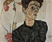 Egon Schiele Self-Portrait with Chinese Lantern Fruit oil painting picture wholesale