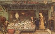 Frederick Walker,ARA,RWS A Fishmonger's shop (mk46) oil painting artist